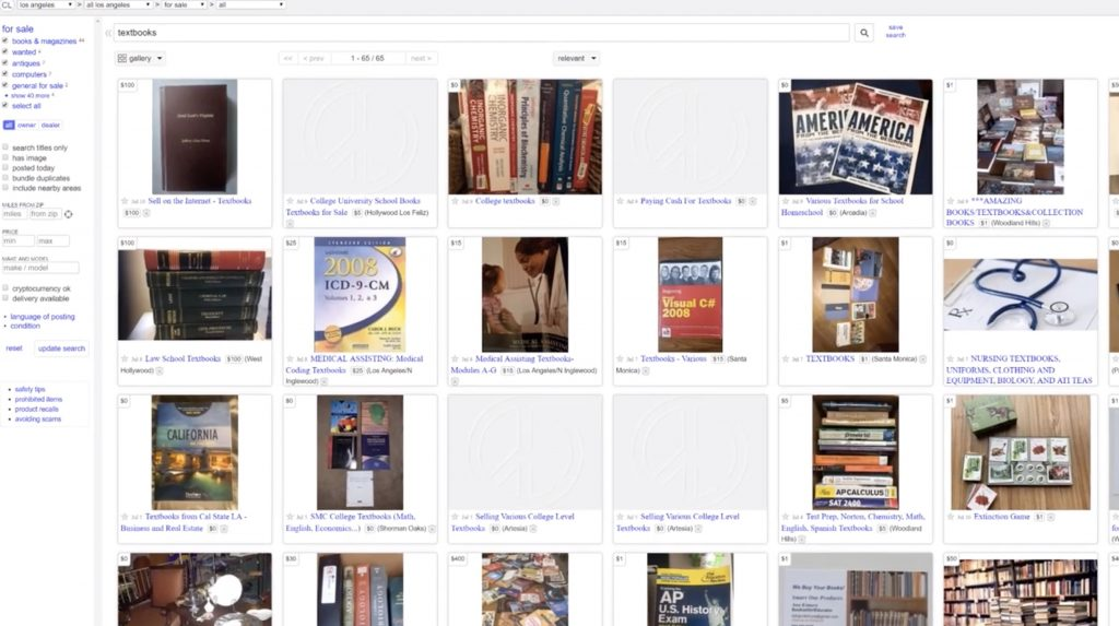 searching craigslist for used textbooks