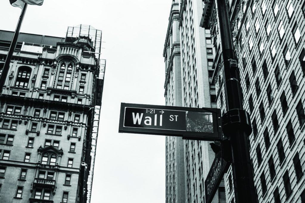 wall street sign black and white